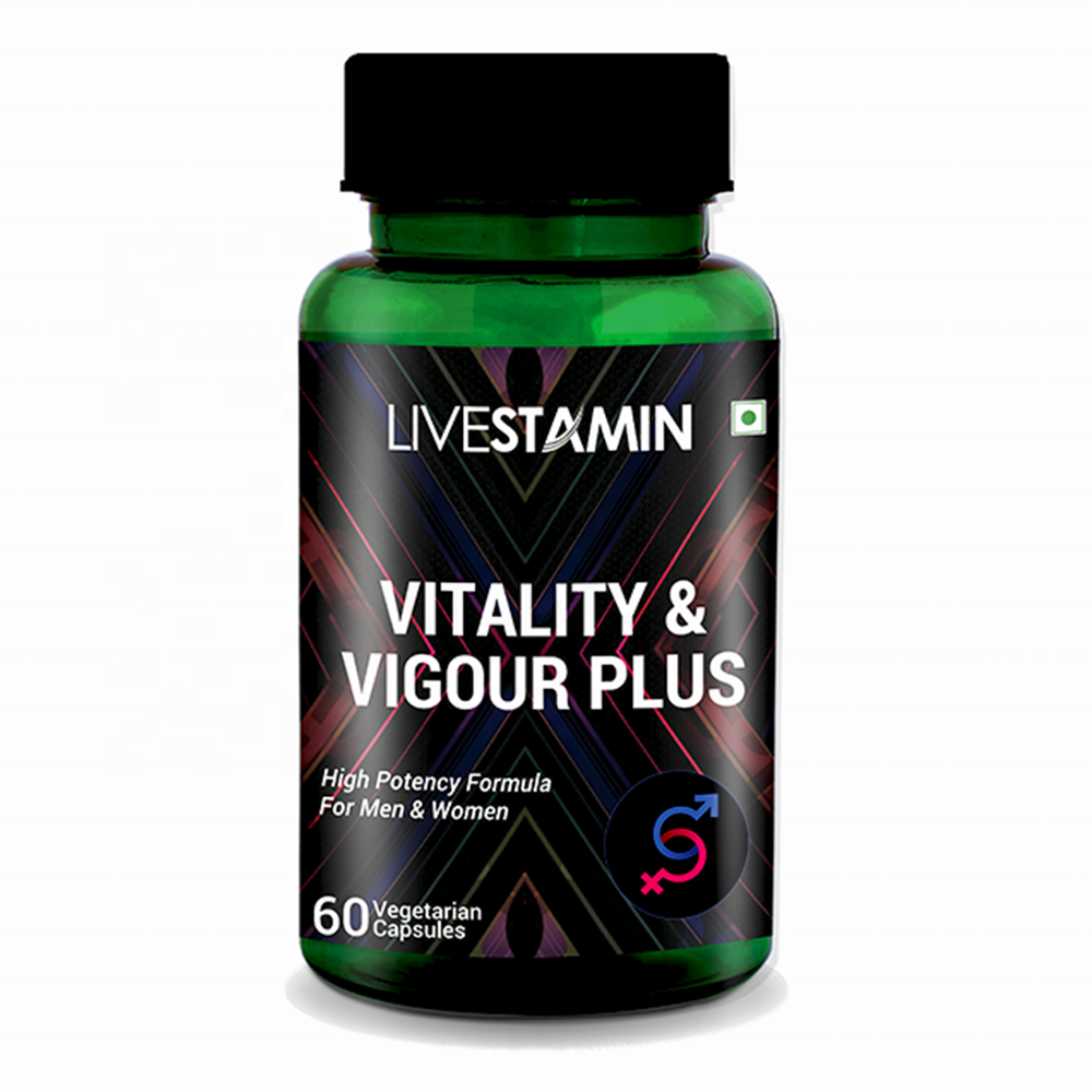Vitality Vigour Plus Capsules Safed Musali Ashwagandha Men Women Energy Booster Herbal Extract Supplement Private Label GMP ISO