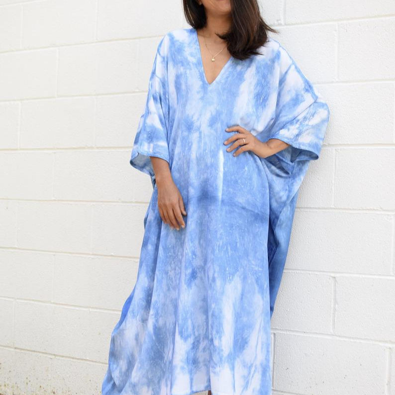 new arrived long dress women tie dye off shoulder long dress rayon fabric smoking with slit fitted casual beach cover up