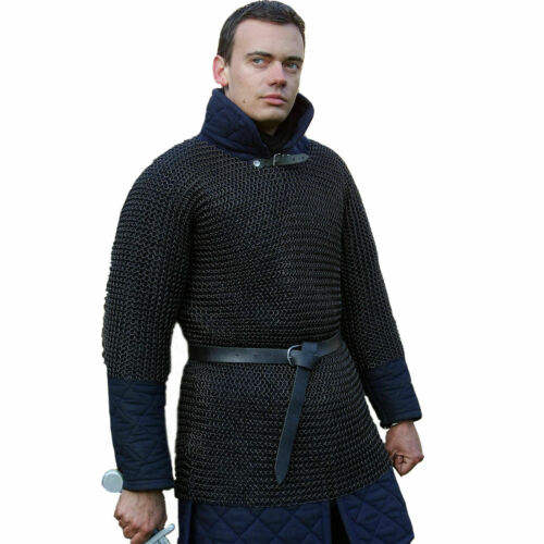 Medieval Chainmail Shirt Rust Proof Black Plated Butted