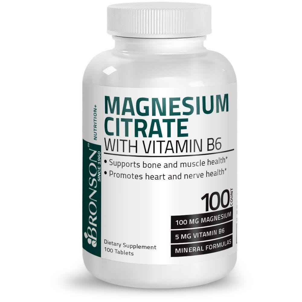 Magnesium Citrate with Vitamin B6 - 100 Tablets